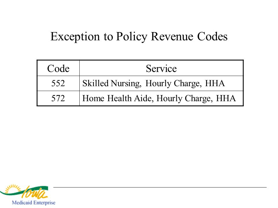 Exception to Policy Revenue Codes