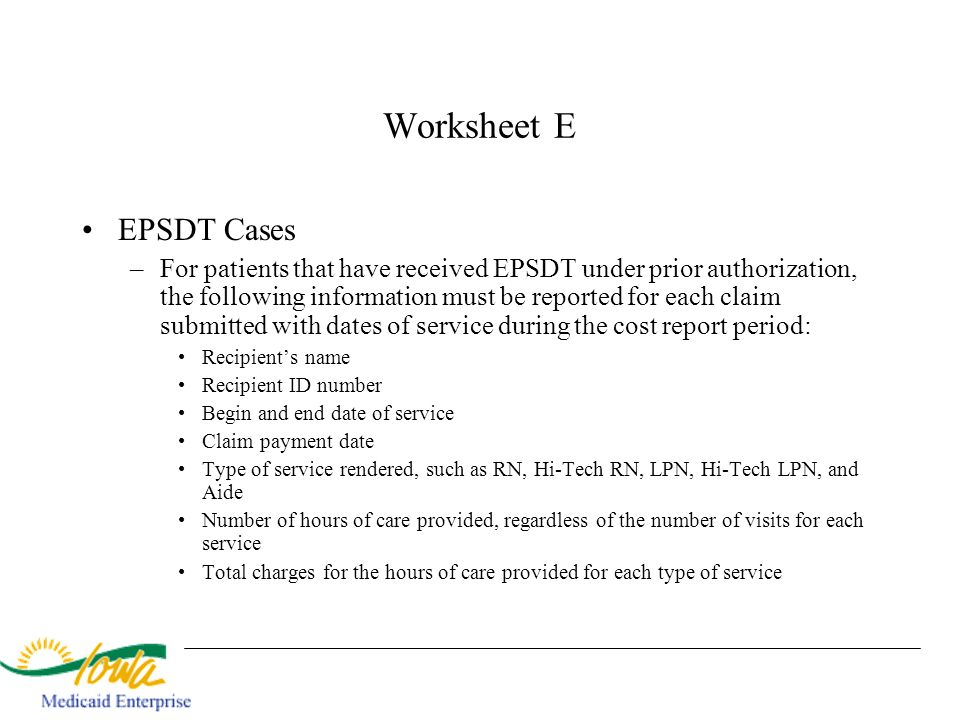 Worksheet E EPSDT Cases