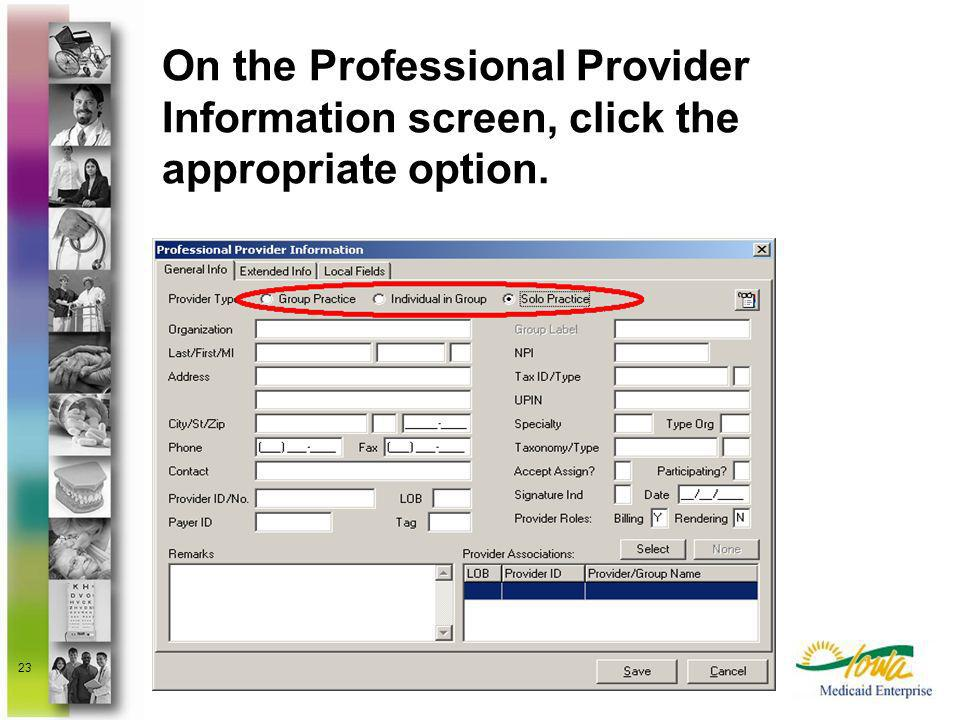 On the Professional Provider Information screen, click the appropriate option.