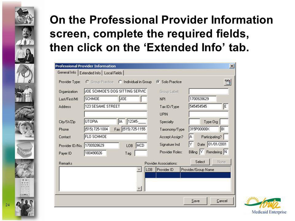 On the Professional Provider Information screen, complete the required fields, then click on the 'Extended Info' tab.