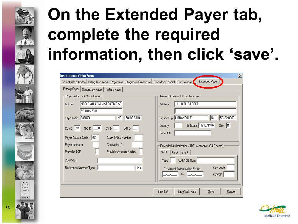 On the Extended Payer tab, complete the required information, then click 'save'.