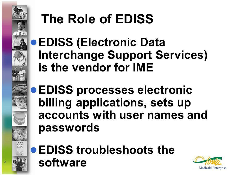 The Role of EDISS EDISS (Electronic Data Interchange Support Services) is the vendor for IME.