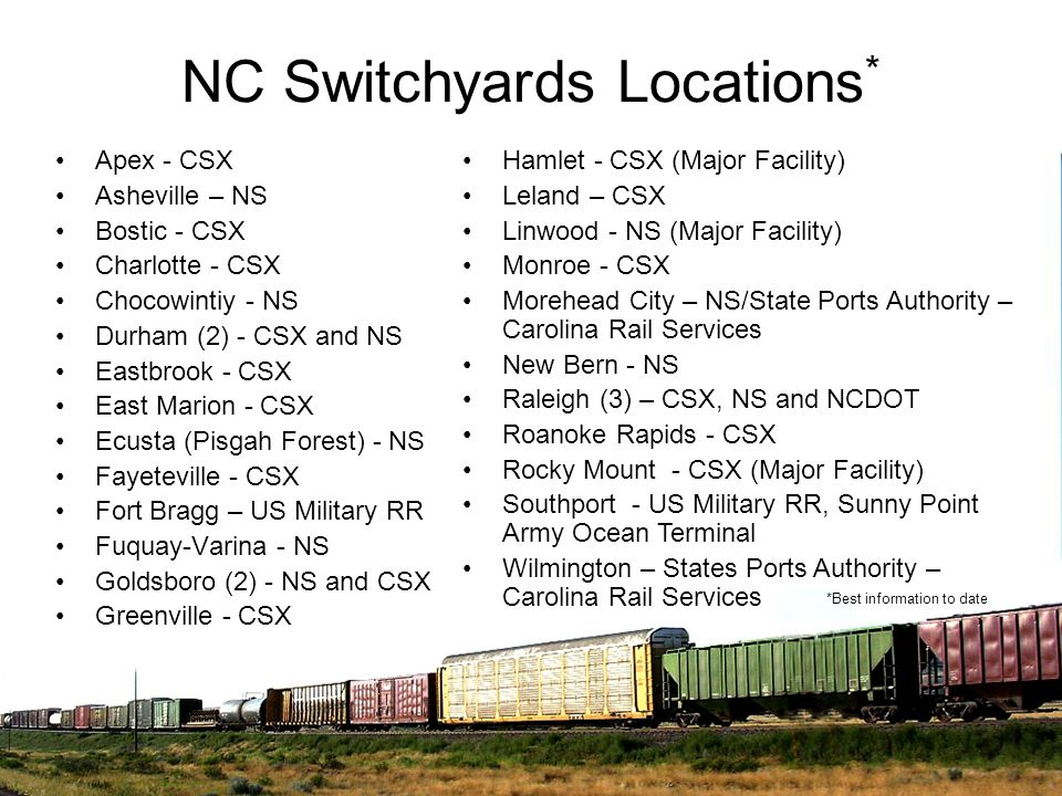 NC Switchyards Locations*