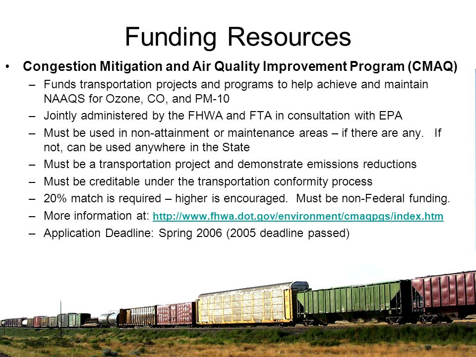 Funding Resources Congestion Mitigation and Air Quality Improvement Program (CMAQ)