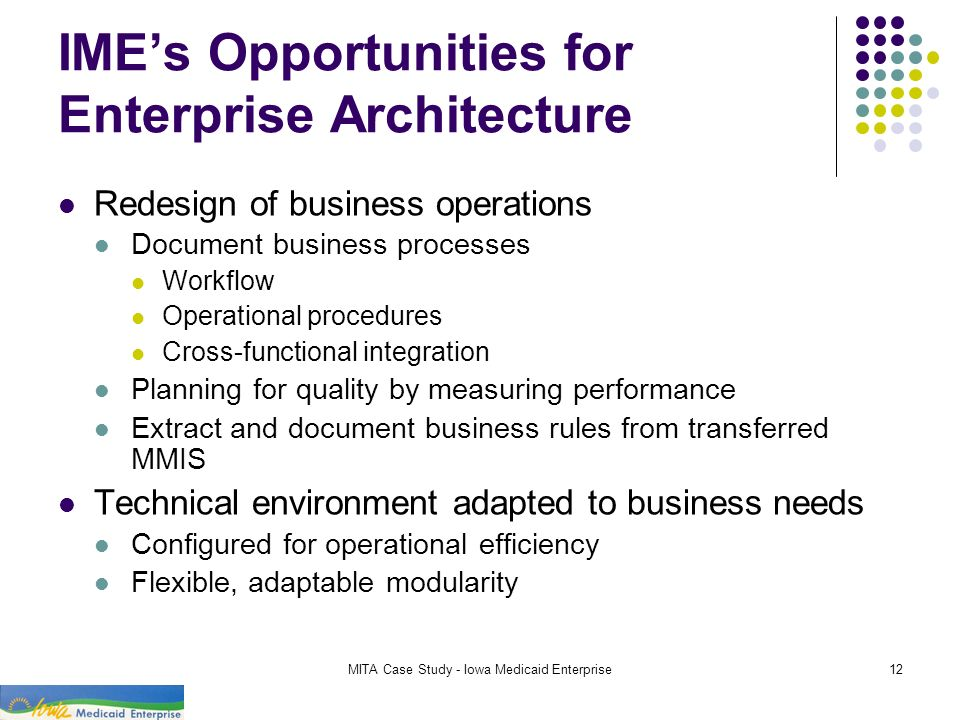 IME's Opportunities for Enterprise Architecture
