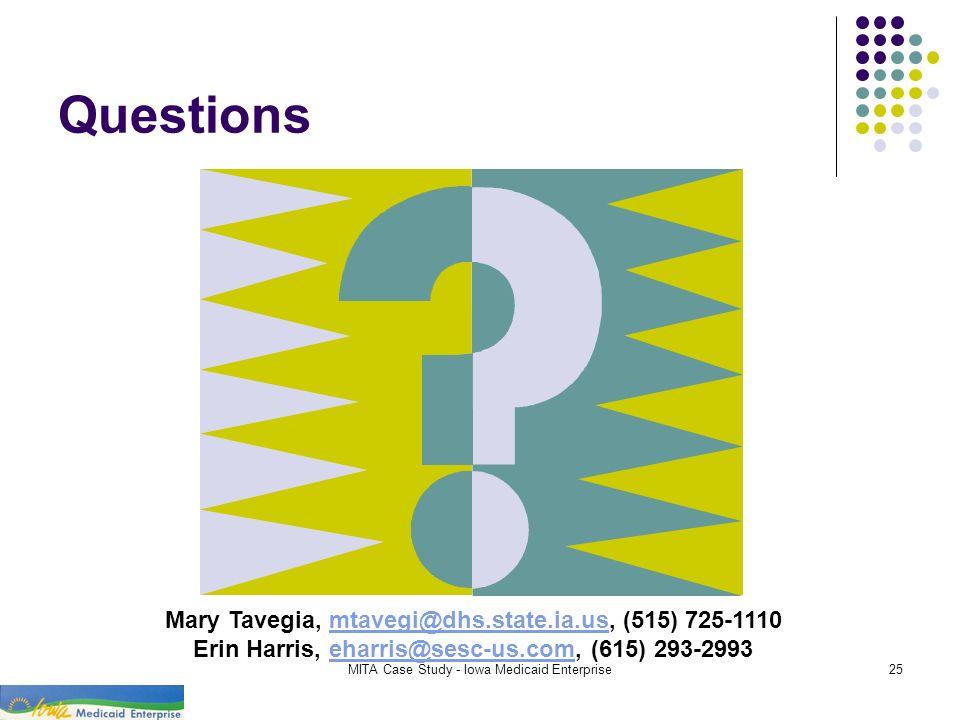Questions Mary Tavegia, mtavegi@dhs.state.ia.us, (515) 725-1110