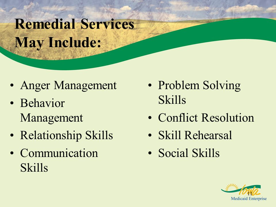 Remedial Services May Include: