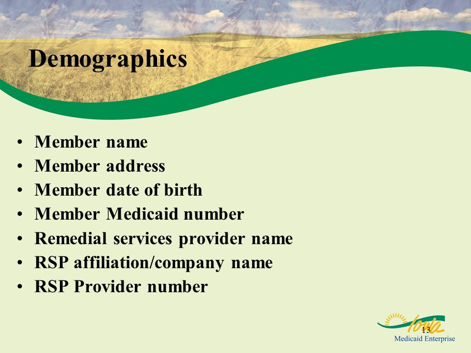 Demographics Member name Member address Member date of birth