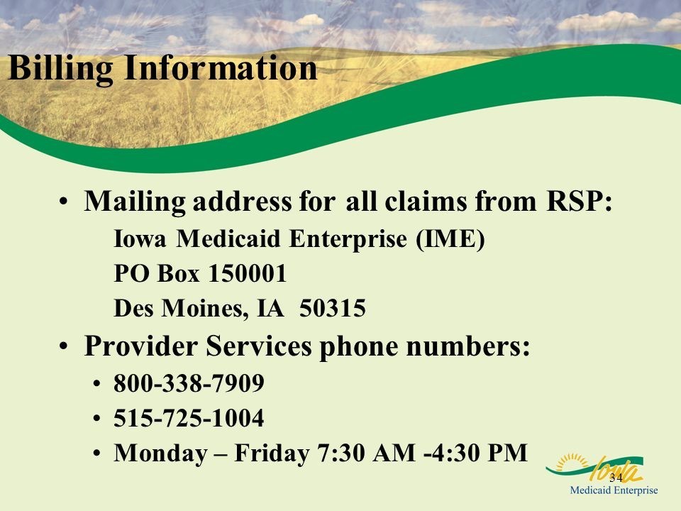 Billing Information Mailing address for all claims from RSP: