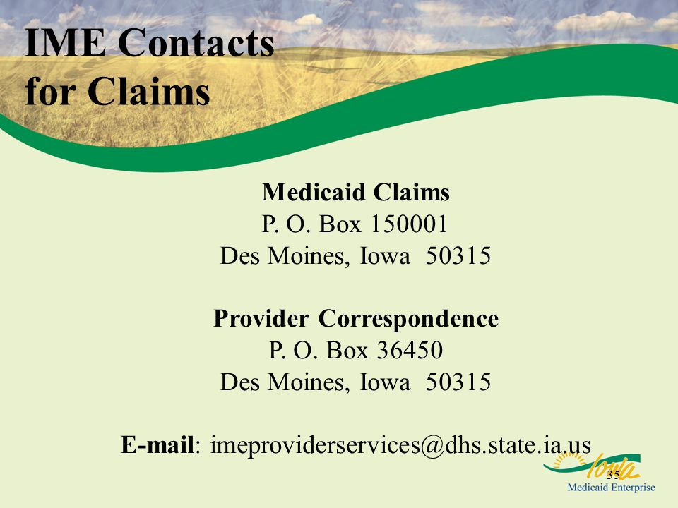 IME Contacts for Claims
