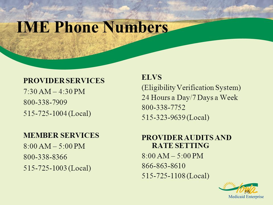IME Phone Numbers ELVS (Eligibility Verification System)