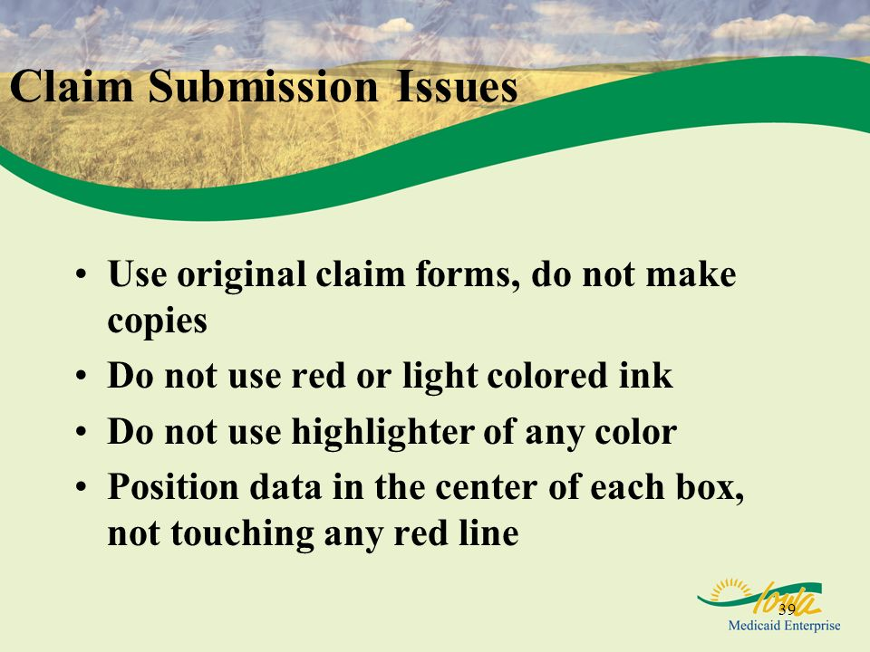 Claim Submission Issues