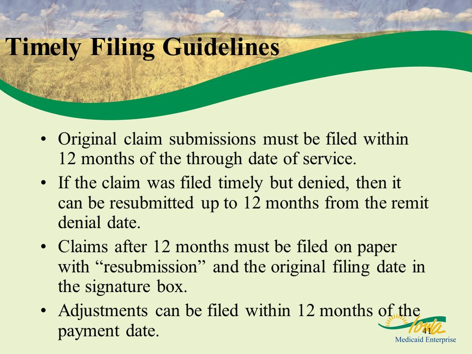 Timely Filing Guidelines