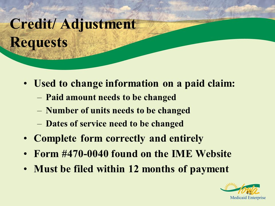Credit/ Adjustment Requests