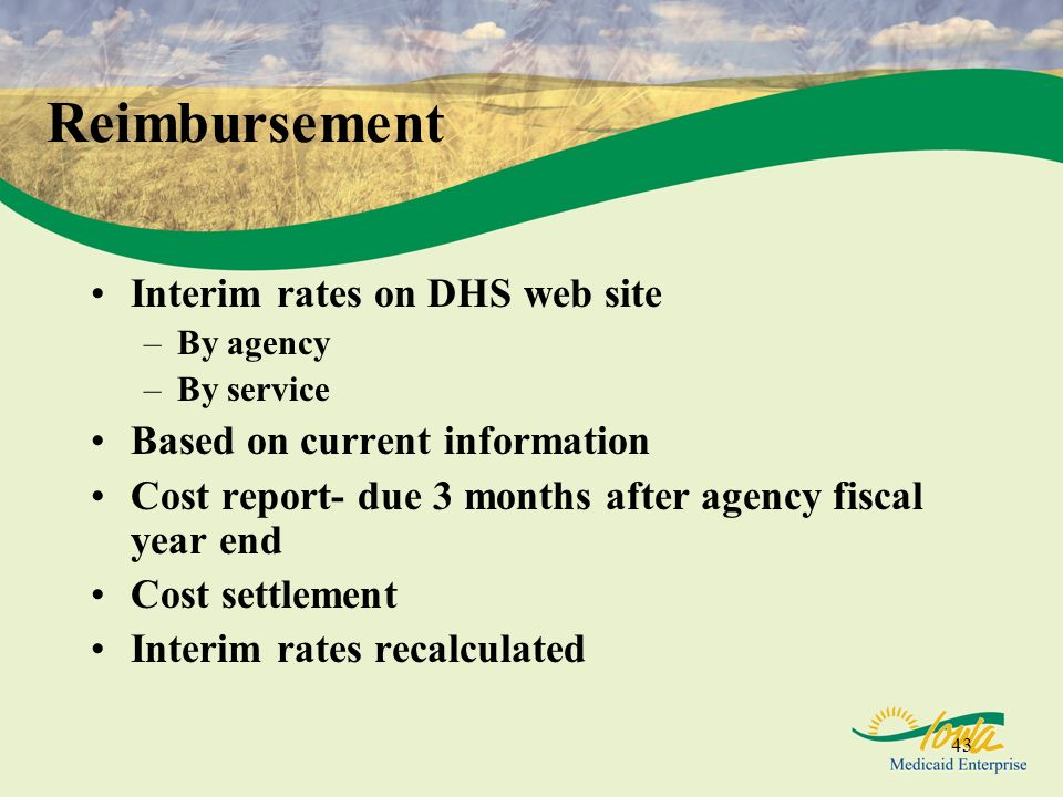 Reimbursement Interim rates on DHS web site