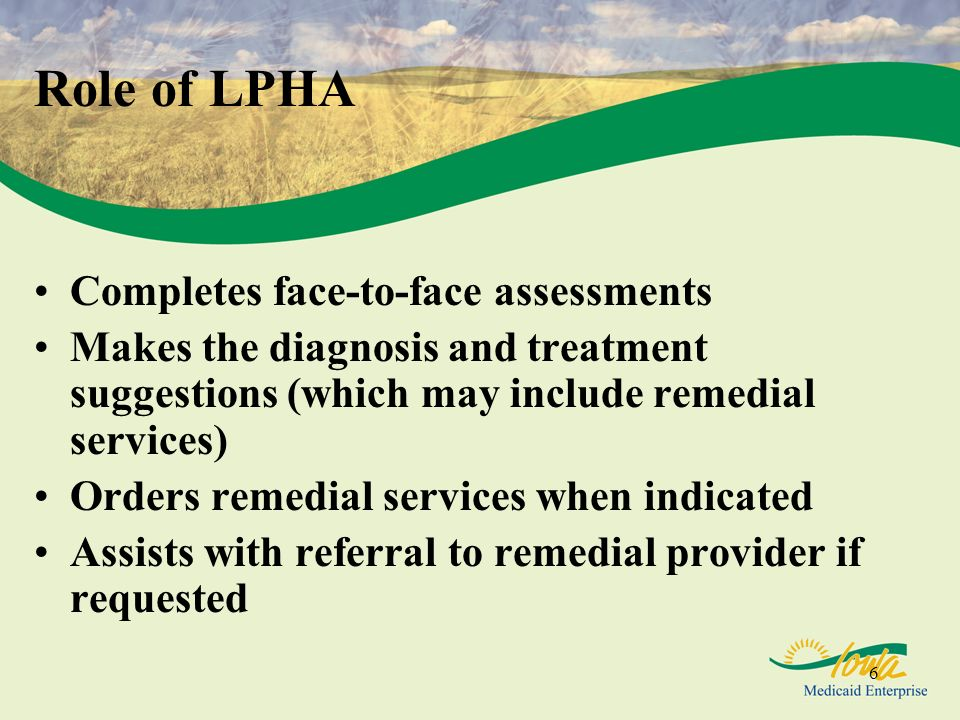 Role of LPHA Completes face-to-face assessments