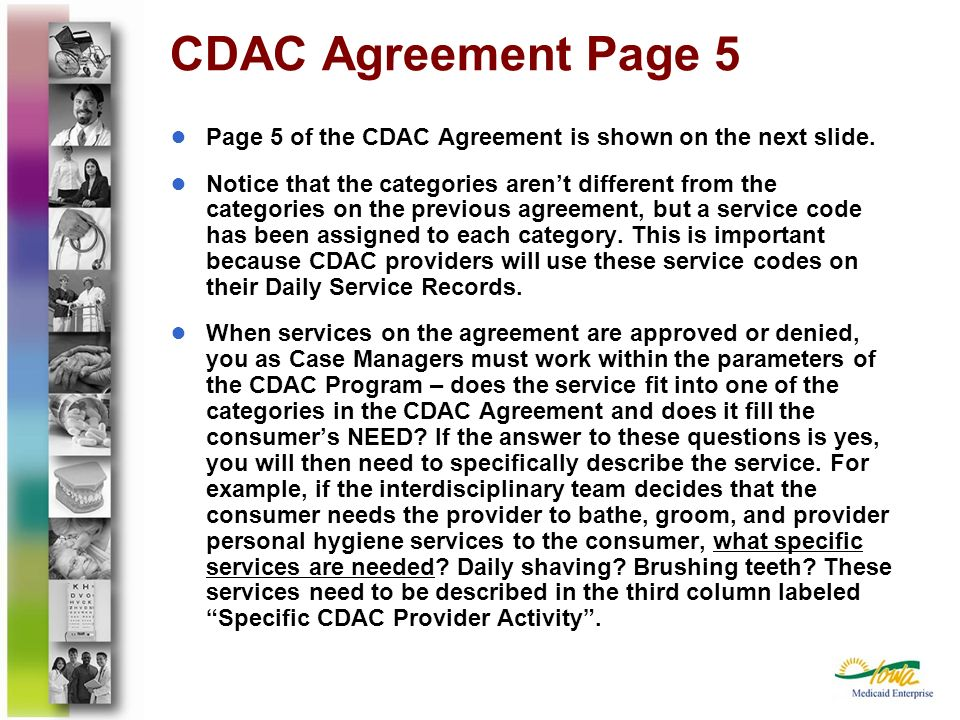 CDAC Agreement Page 5Page 5 of the CDAC Agreement is shown on the next slide.