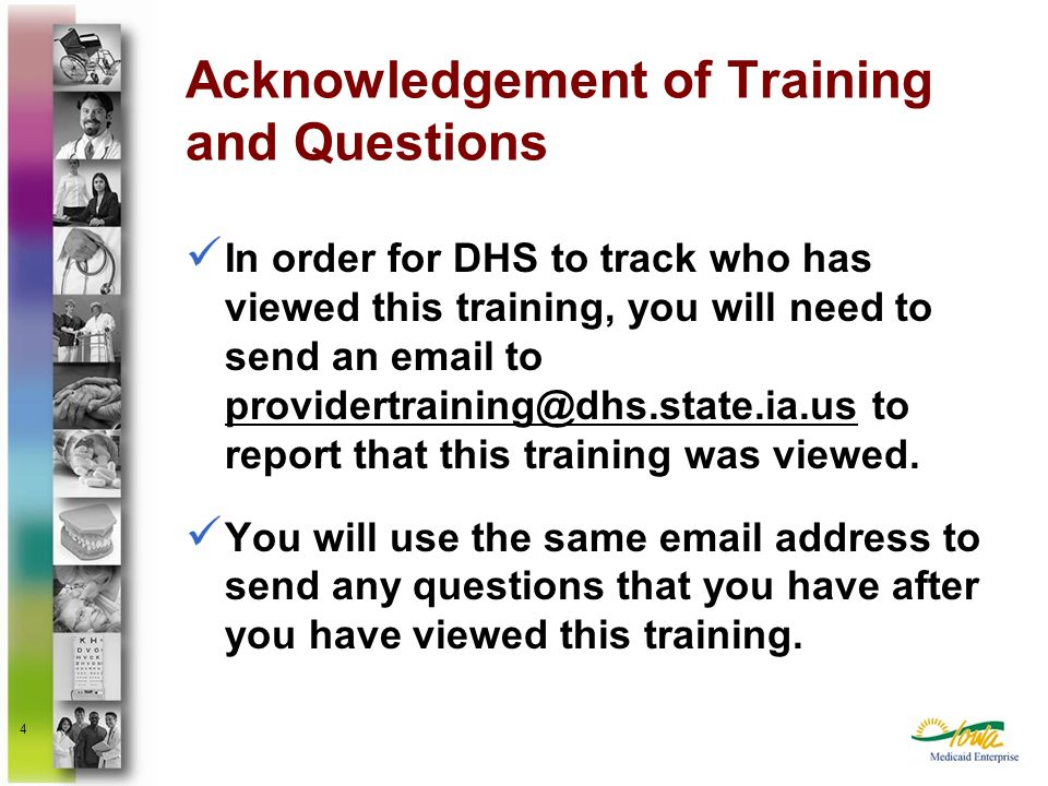 Acknowledgement of Training and Questions