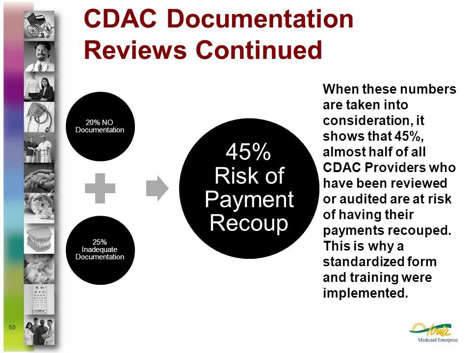 CDAC Documentation Reviews Continued