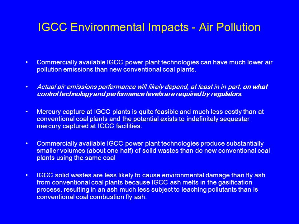 IGCC Environmental Impacts - Air Pollution