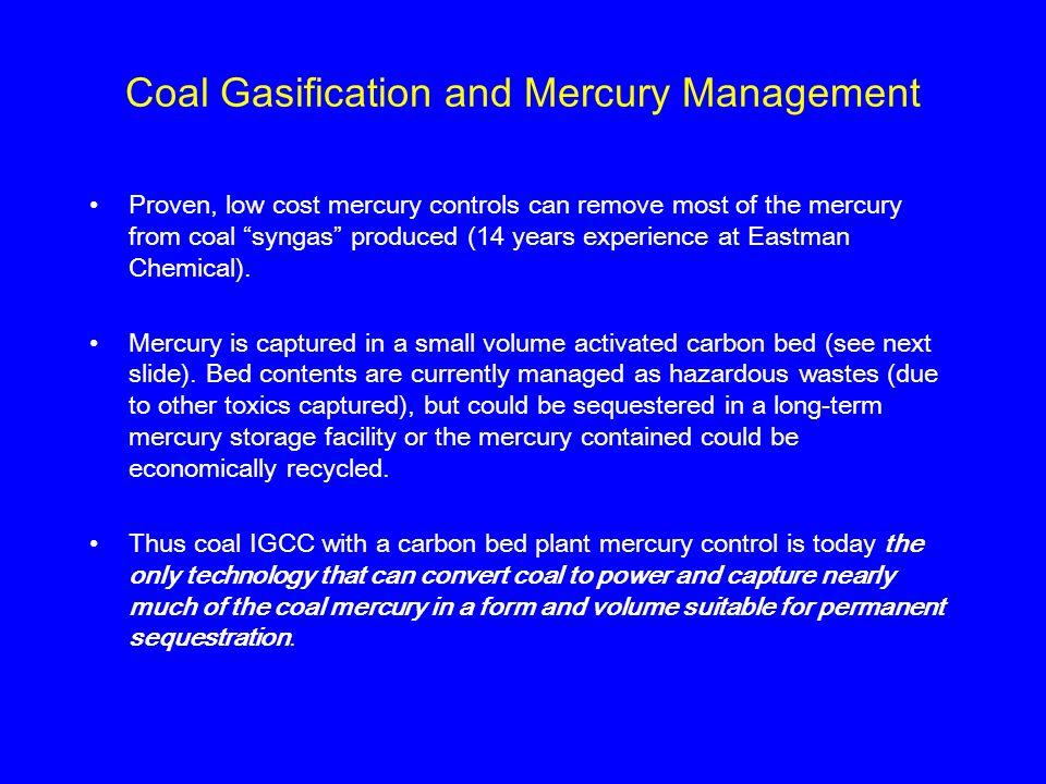 Coal Gasification and Mercury Management