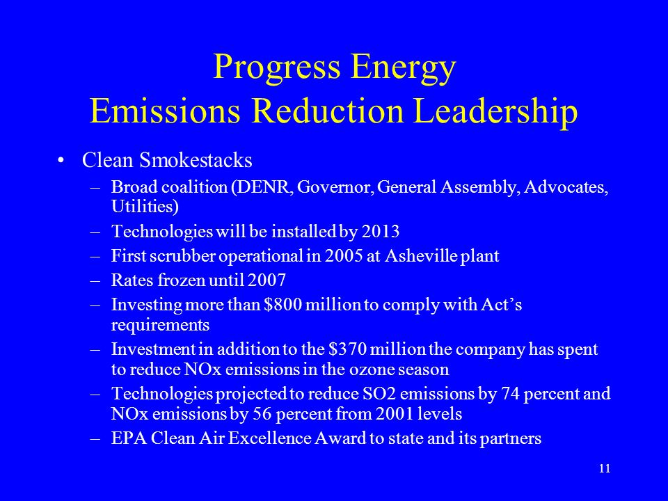 Progress Energy Emissions Reduction Leadership