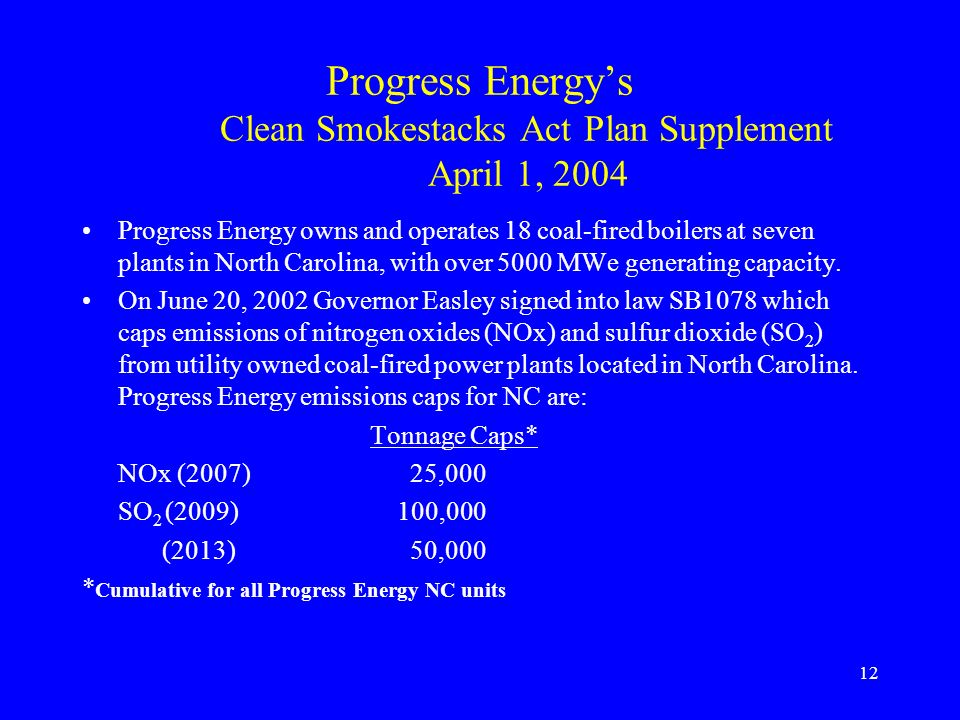Progress Energy's Clean Smokestacks Act Plan Supplement April 1, 2004
