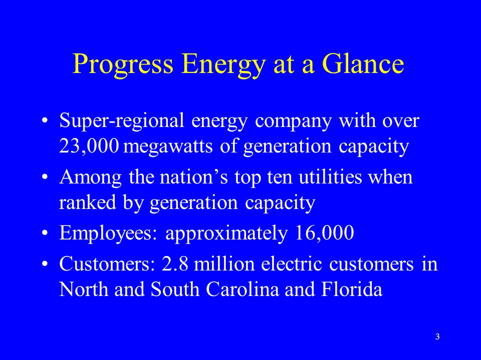 Progress Energy at a Glance