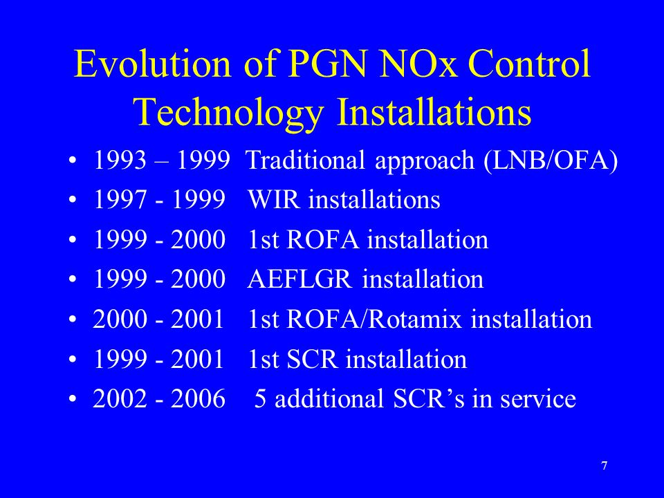 Evolution of PGN NOx Control Technology Installations