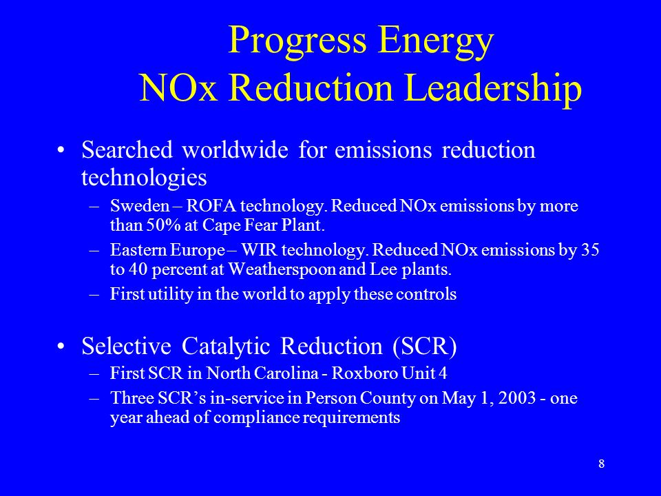 Progress Energy NOx Reduction Leadership