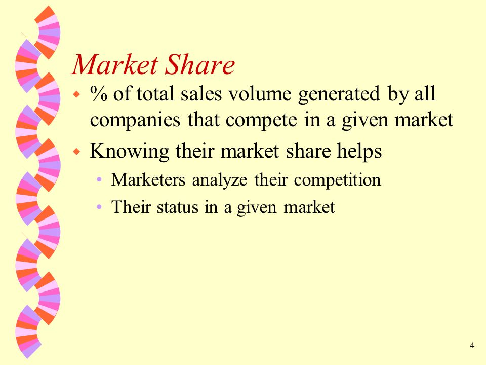 Market Share % of total sales volume generated by all companies that compete in a given market. Knowing their market share helps.