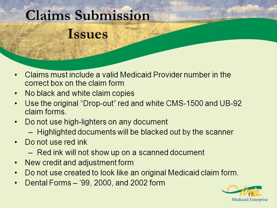 Claims Submission Issues