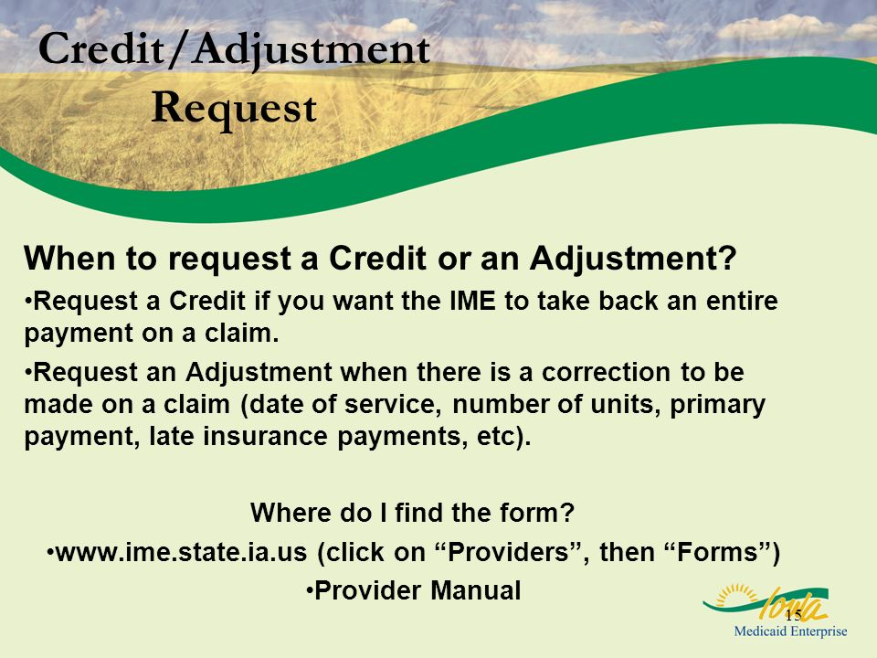 Credit/Adjustment Request