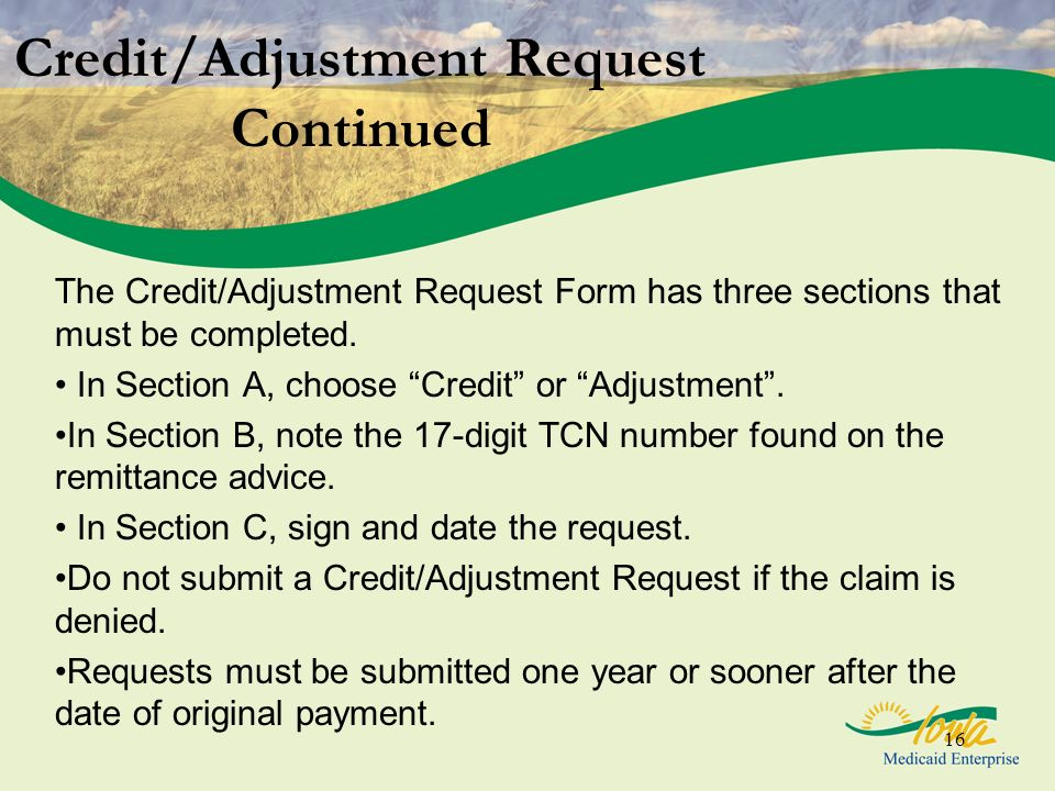 Credit/Adjustment Request Continued