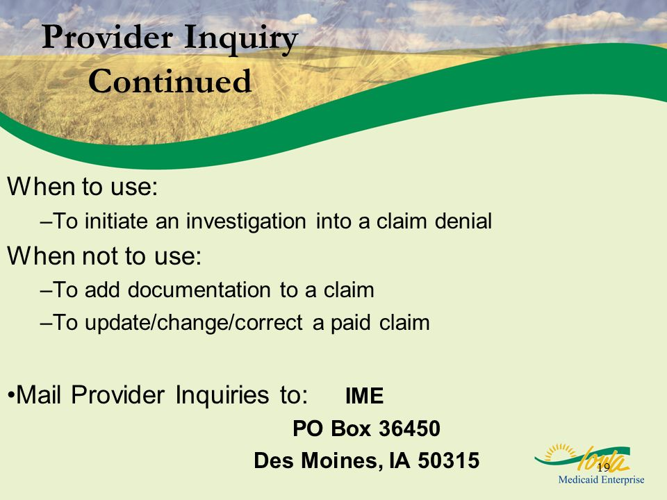 Provider Inquiry Continued