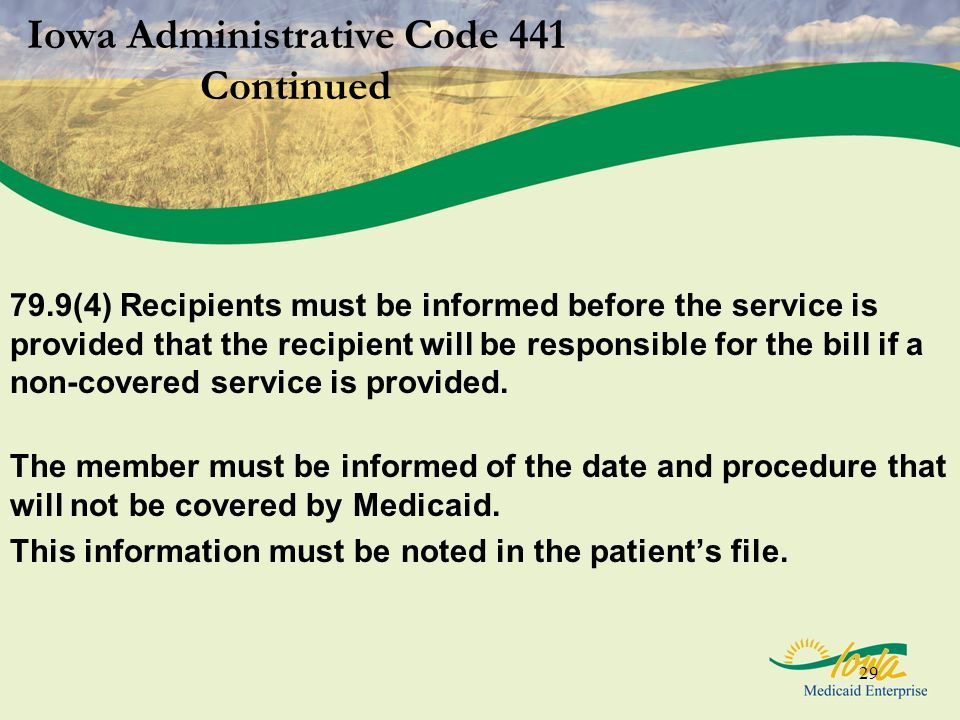 Iowa Administrative Code 441 Continued