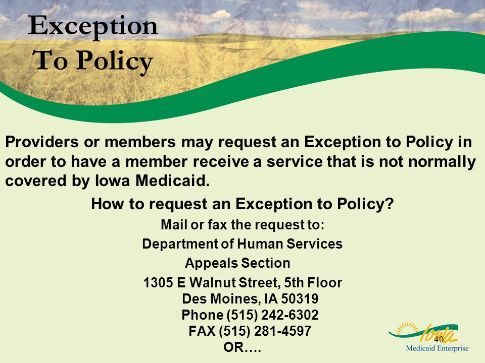 Exception To Policy