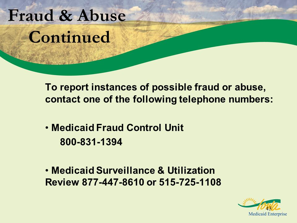 Fraud & Abuse Continued