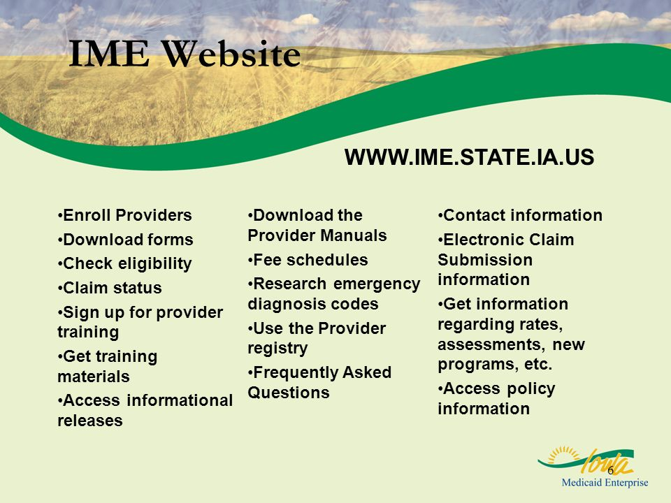 IME Website WWW.IME.STATE.IA.US Enroll Providers Download forms