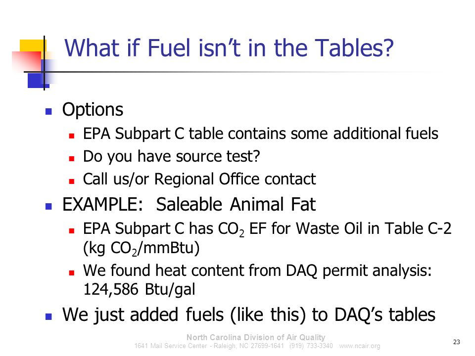 What if Fuel isn't in the Tables
