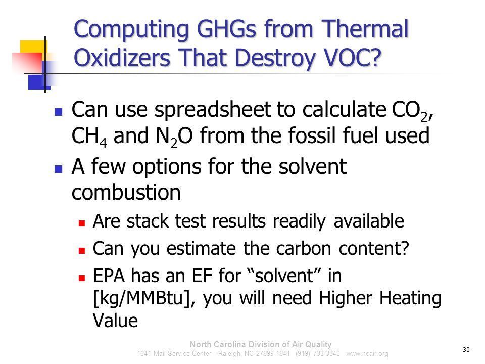 Computing GHGs from Thermal Oxidizers That Destroy VOC