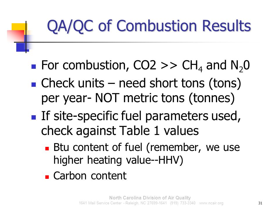 QA/QC of Combustion Results