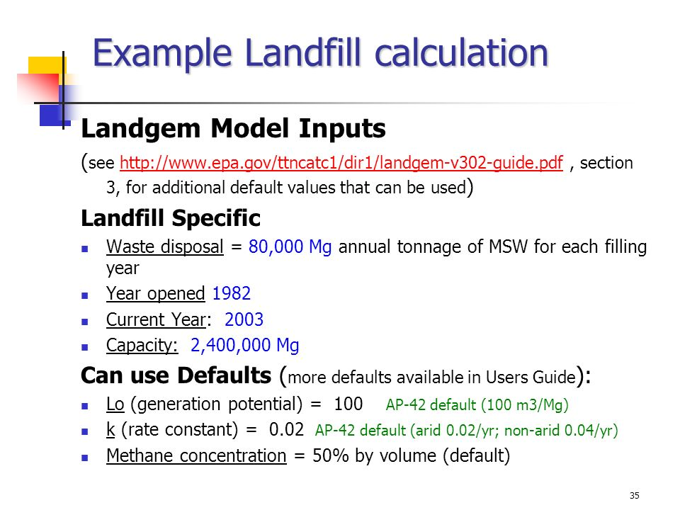Example Landfill calculation
