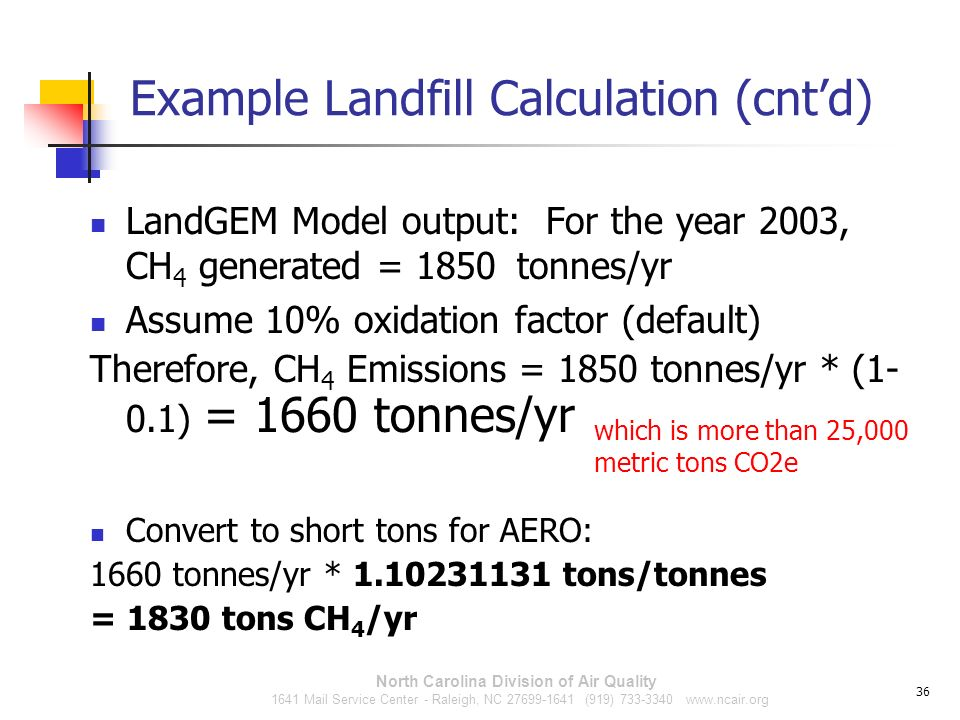 Example Landfill Calculation (cnt'd)