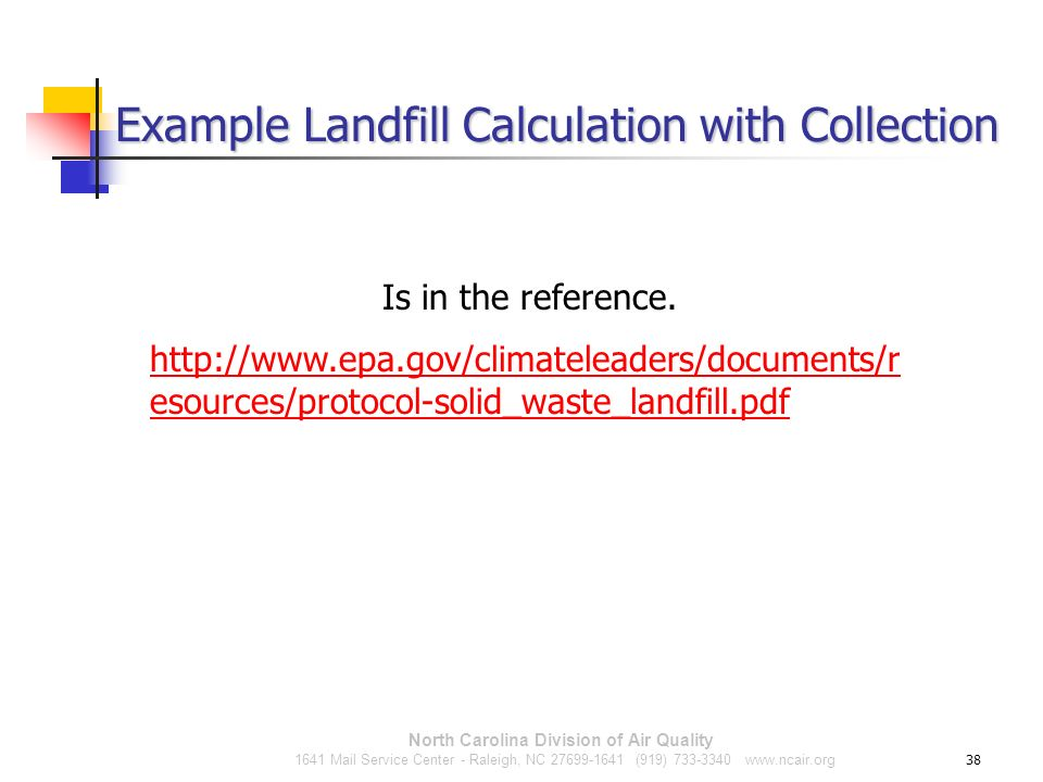 Example Landfill Calculation with Collection