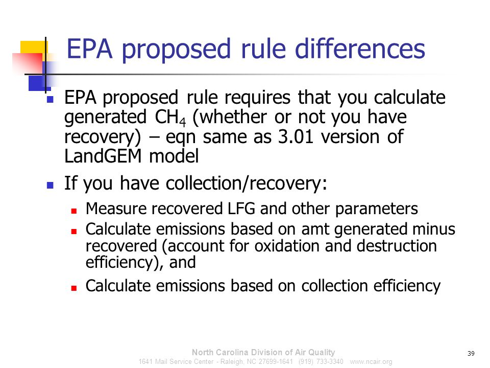 EPA proposed rule differences