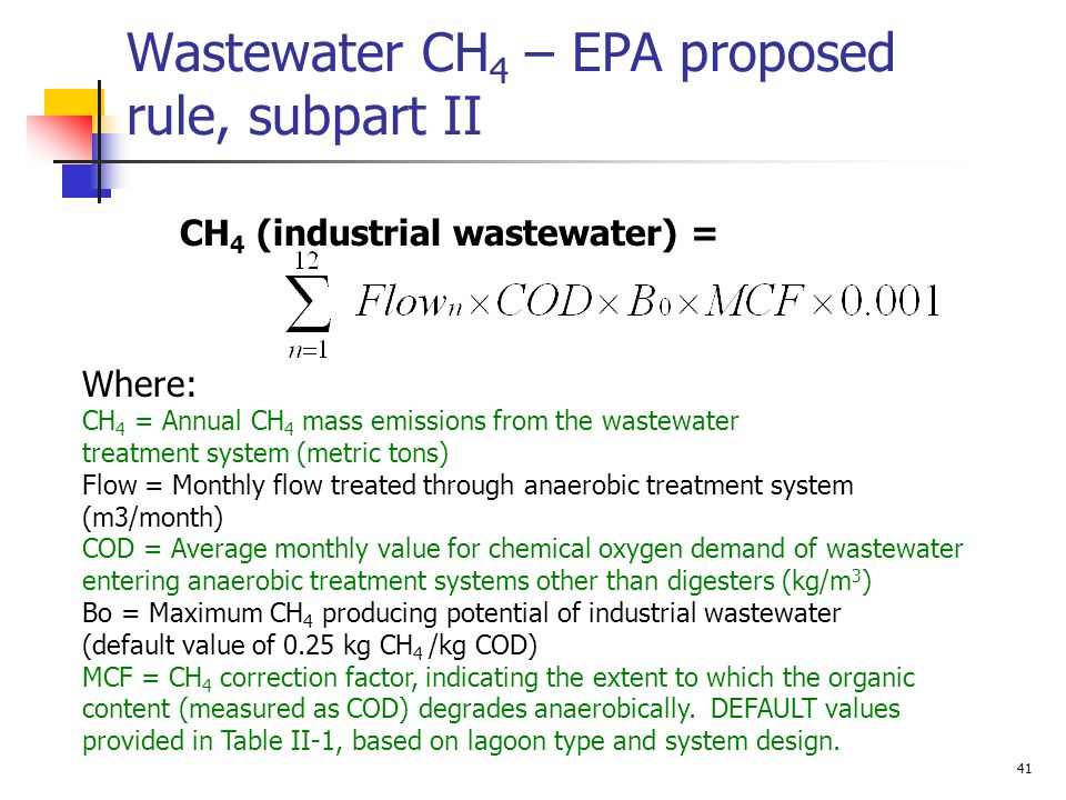 Wastewater CH4 – EPA proposed rule, subpart II