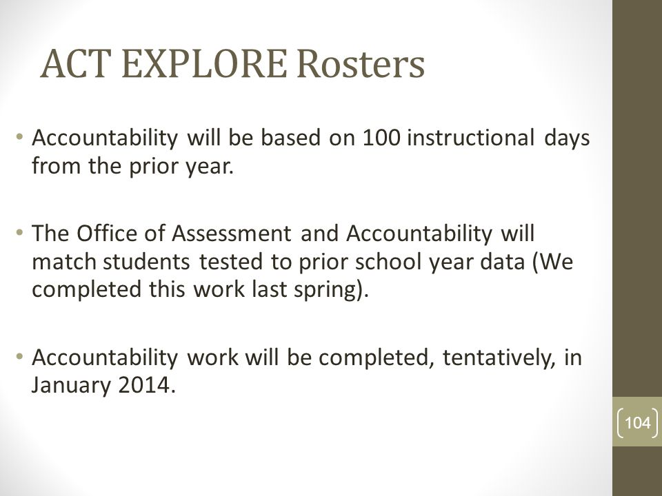 ACT EXPLORE RostersAccountability will be based on 100 instructional days from the prior year.
