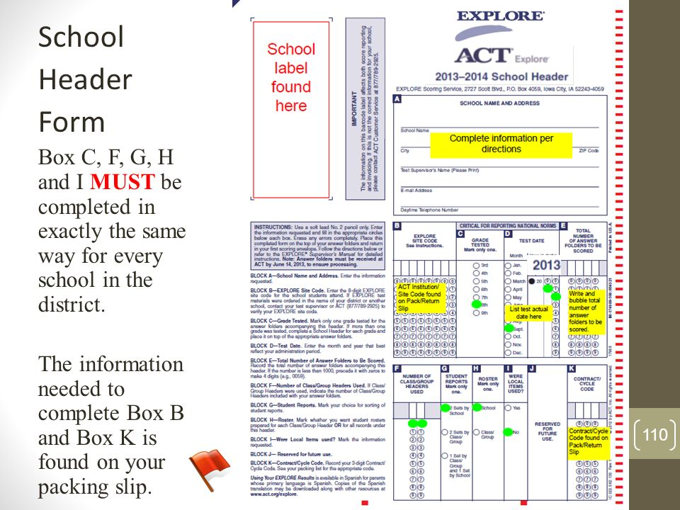 SchoolHeader. Form. Box C, F, G, H and I MUST be completed in exactly the same way for every school in the district.