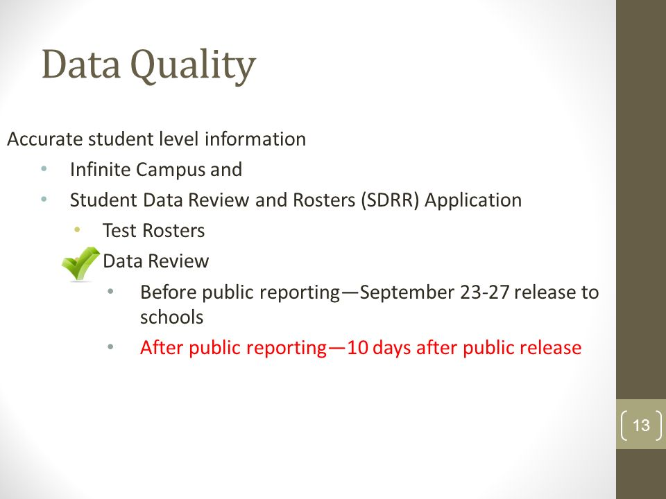 Data Quality Accurate student level information Infinite Campus and